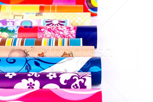 Kâğıt renkli kağıt ambalaj arka plan turuncu Stok fotoğraf © Carpeira10