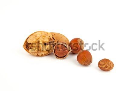 Keverék diók mogyoró izolált gyümölcs friss Stock fotó © Carpeira10