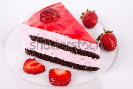 Kek çilek çikolata plaka meyve Stok fotoğraf © Carpeira10