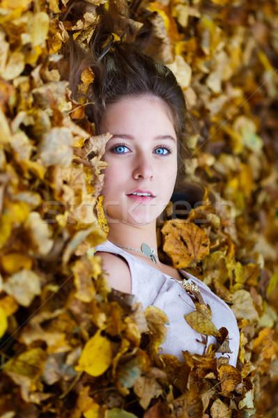 красивая девушка желтый листьев портрет женщину девушки Сток-фото © castenoid