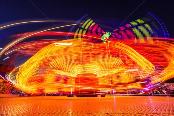 Nacht lang tijd blootstelling licht oranje Stockfoto © castenoid