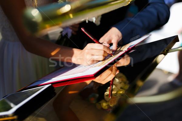форме рук Свадебная церемония стороны Сток-фото © castenoid