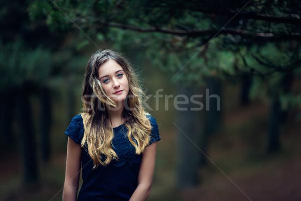 красивая девушка соснового лес портрет женщину девушки Сток-фото © castenoid