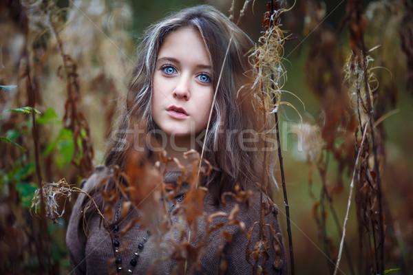 портрет красивая девушка красивой желтый листьев Сток-фото © castenoid