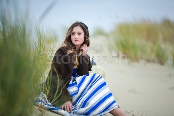 красивая девушка дюна портрет пустыне женщину девушки Сток-фото © castenoid