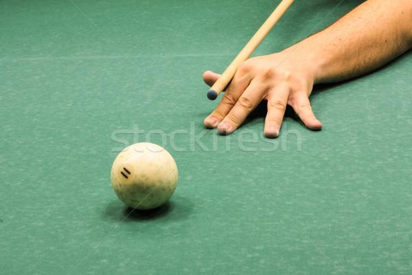 Russian billard play, ball and cue on the green cloth Stock photo © Catuncia