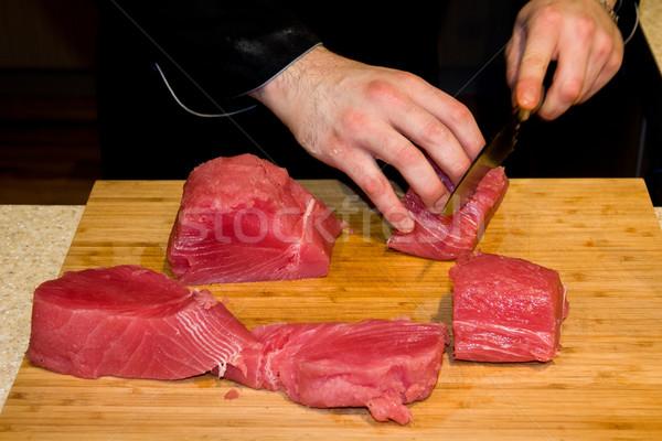 Ton balığı balık kesmek şef eller Stok fotoğraf © Catuncia