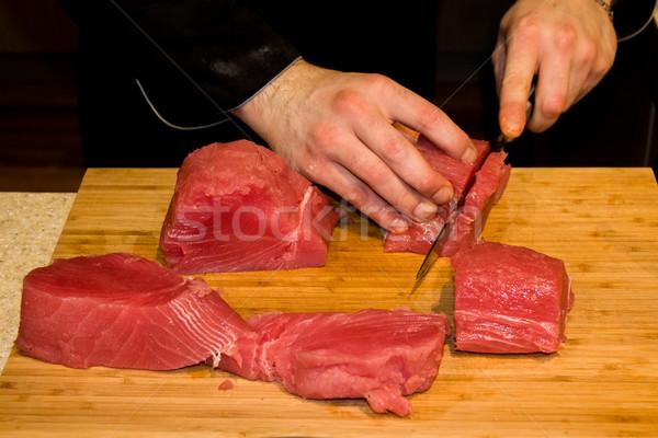 Tuna fish cut for tartar Stock photo © Catuncia