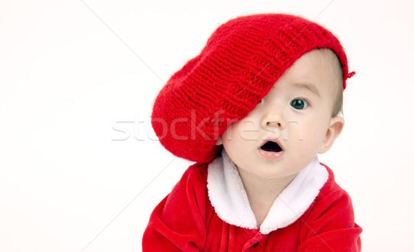 Zuigeling jongen naar Rood hoed cute Stockfoto © cboswell