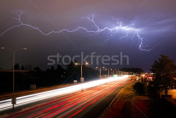 Rare Thunderstorm Producing Lightning Over Tacoma Washington I-5 Stock photo © cboswell