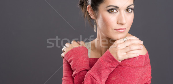 Big Brown Bright Eyed Attractive Woman Wearing Red Charcoal Back Stock photo © cboswell