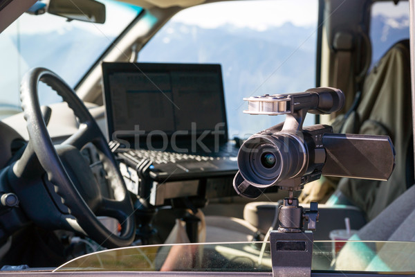 Photographers Gear Van Cockpit Professional Jounalist Video Came Stock photo © cboswell