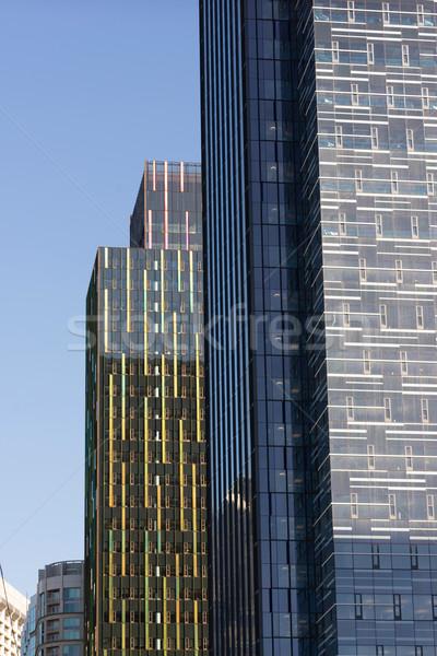Stockfoto: Glas · metaal · gebouwen · architectuur · laat · namiddag
