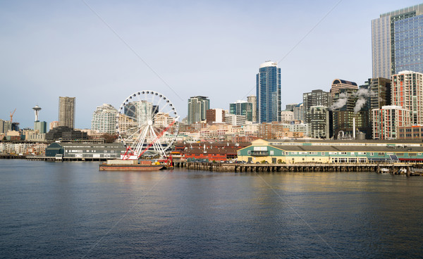 Waterfront Piers Dock Buildings Needle Ferris Wheel Seattle Elli Stock photo © cboswell