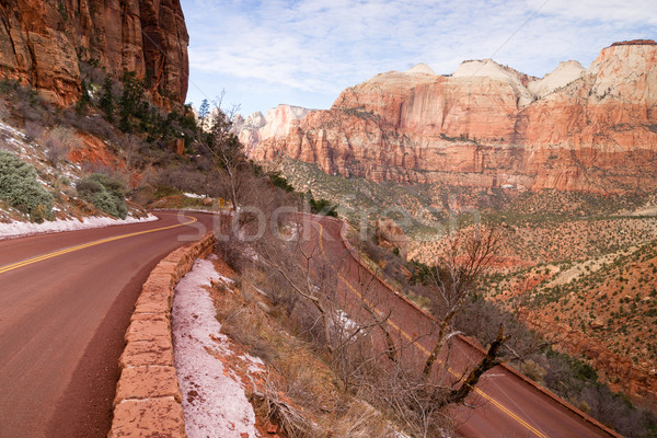 Highway 9 Zion Park Blvd Curves Through Rock Mountains Stock photo © cboswell