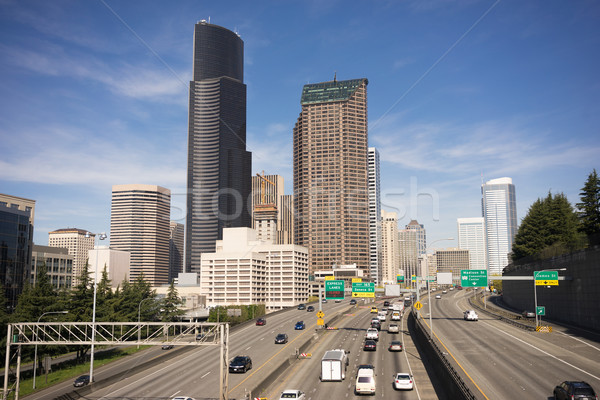 Stockfoto: Centrum · Seattle · interstate · auto · snelweg