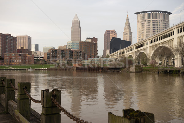Cleveland Ohio Downtown City Skyline Cuyahoga River Stock photo © cboswell