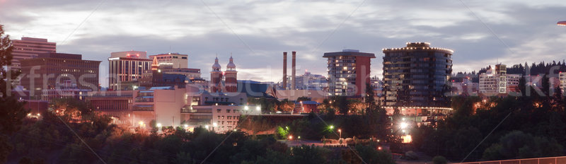 Panoramic View Spokane Washington Downtown City Skyline Sunrise Stock photo © cboswell