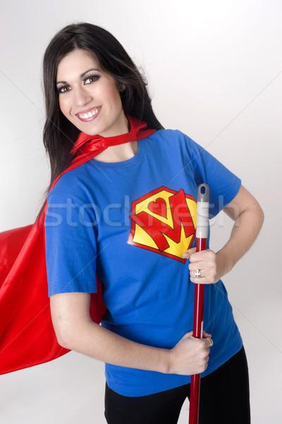 スーパー ママ 女性 スーパーヒーロー スタイル Tシャツ ストックフォト © cboswell