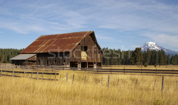 Ranch Barn Countryside Mount Adams Mountain Farmland Landscape Stock photo © cboswell