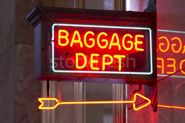 Red Neon Sign Indoor Depot Signage Arrow Points Baggage Dept Stock photo © cboswell