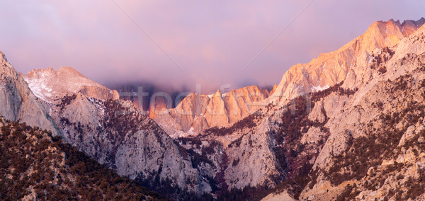 Mt Whitney Covered Cumulus Cloud Sierra Nevada Range California Stock photo © cboswell