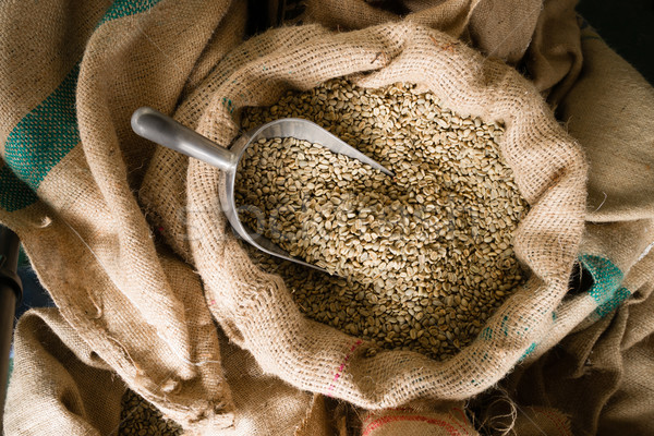 Raw Coffee Beans Seeds Bulk Burlap Sack Production Warehouse Stock photo © cboswell
