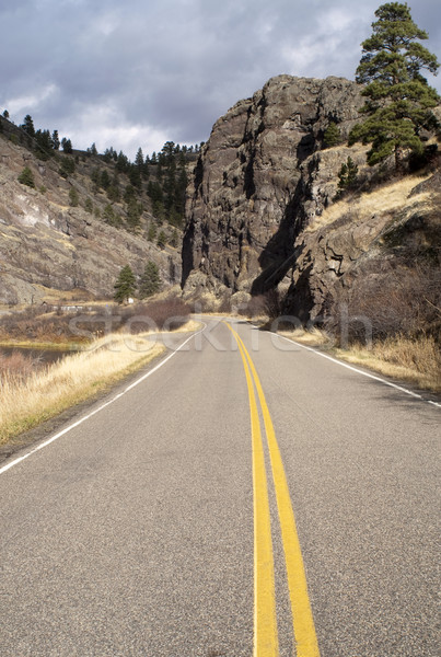 Tow Lane Highway Travels Rugged Territory Western United States Stock photo © cboswell