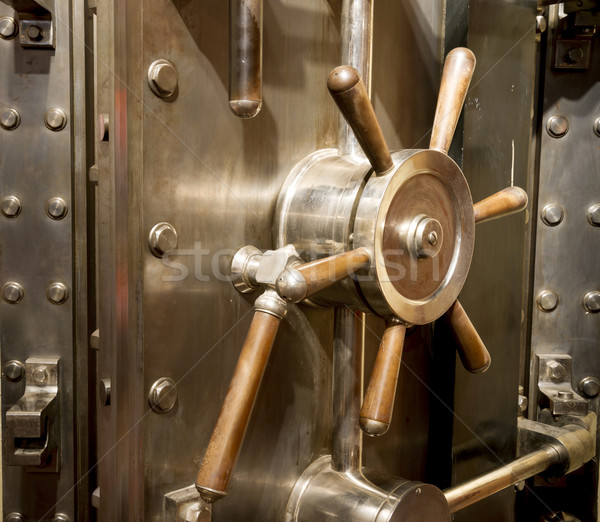 Front of Bank Vault Massive Door Handle Combination Lock Dial Stock photo © cboswell