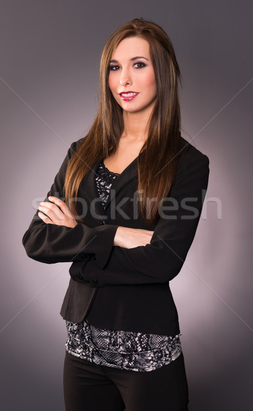 Attractive Brunette Female Business Woman Arm Crossed Office Emp Stock photo © cboswell