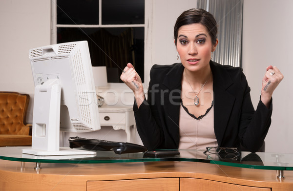Business Woman Customer Service Center Angry Facial Expression Stock photo © cboswell