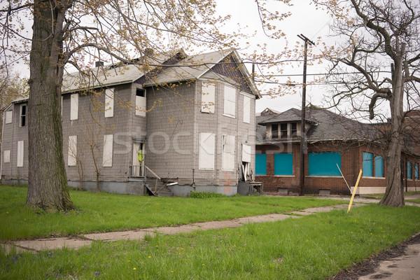 Foto stock: Abandonado · edificio · inmobiliario · Detroit · Michigan · barrio