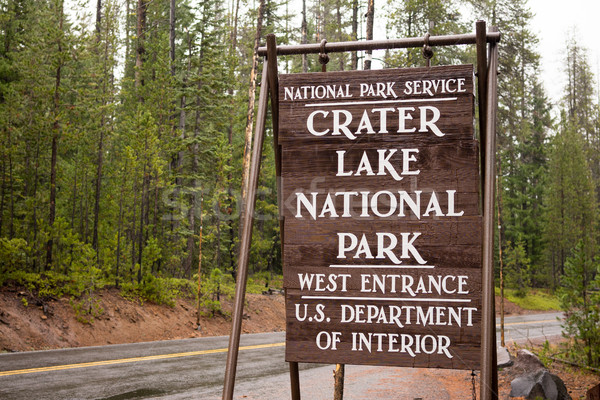 Crater Lake National Park Entrance Sign Oregon State Stock photo © cboswell