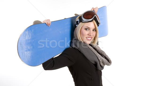 Boord mooie blonde vrouw gelukkig sport model Stockfoto © cboswell