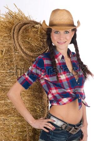 Pelo hermosa chica de campo consejos sombrero modelo Foto stock © cboswell