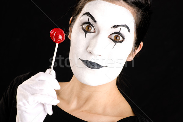 Stock photo: Beautiful Brunette Woman Mime Holds Lollipop Candy White Face