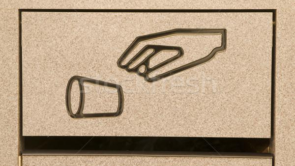 Szemét kosár étkező szemeteskuka liter szimbólum Stock fotó © cboswell