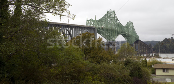 Cloudy Overcast Day McCullough Memorial Bridge Coos Bay Oregon Stock photo © cboswell