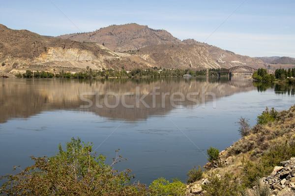 Columbia River Basin Lush Farmland River's Edge Washington State Stock photo © cboswell