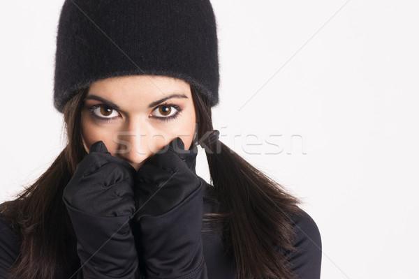 Mujer bonita negro sigilo guantes negros CAP mujer Foto stock © cboswell