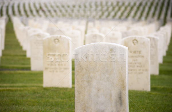 Marble Stone Military Headstones Hundreds Row Graveyard Cemetery Stock photo © cboswell