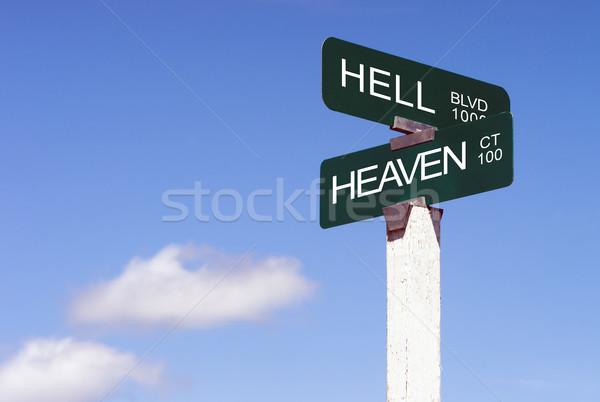 небо ад признаков улице знак синий Сток-фото © cboswell