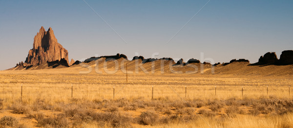 Rocky Craggy Butte Shiprock New Mexico United States Stock photo © cboswell