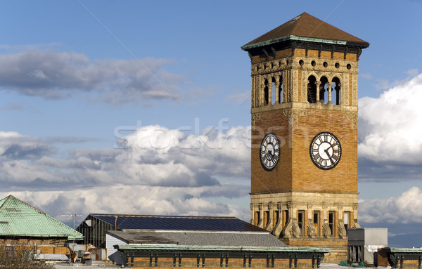 Old Tacoma City Hall Brick Building Architectural Clock Tower Stock photo © cboswell