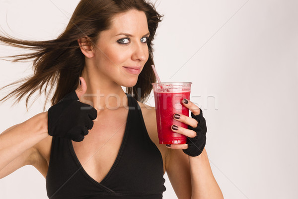 Thumbs Up Attractive Athletic Female Expressing Positively Food  Stock photo © cboswell