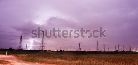 Electrical Storm Thunderstorm Lightning Power Lines Galveston Is Stock photo © cboswell