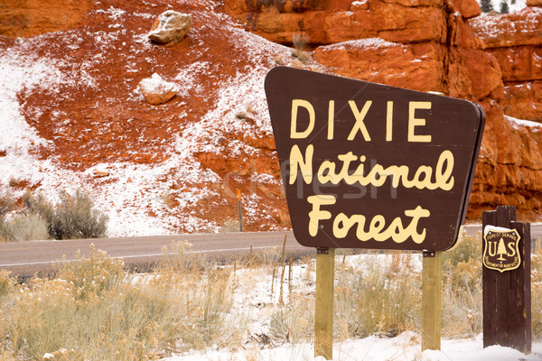 Roadway Dixie Nationa Forest Sign Utah USA  Stock photo © cboswell
