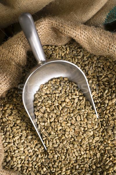 Raw Coffee Seeds Bulk Scoop Burlap Bag Agriculture Bean Stock photo © cboswell