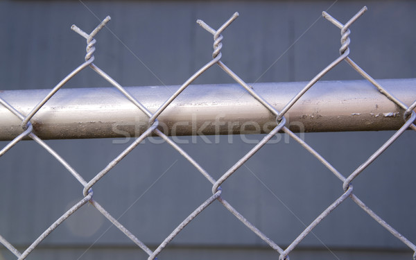 Backyard Re-Painted Metal Chain Link Fence Top Post Wire Stock photo © cboswell