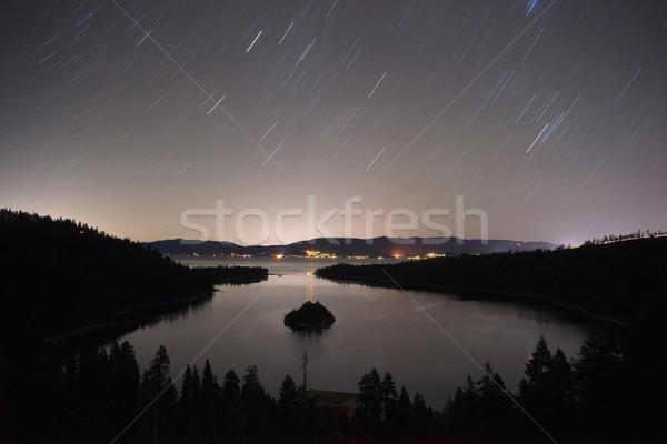 Stock photo: Long Exposure Night Sky Emerald Bay Fannette Island Lake Tahoe